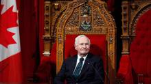 Governor-General David Johnston oversees a ceremony giving royal assent to government legislation in the Senate on Dec. 12, 2013. (PATRICK DOYLE/THE CANADIAN PRESS)