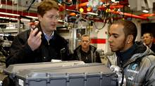 Formula One driver Lewis Hamilton visits the Mercedes engine factory in Brackley, Brixworth (Mercedes-Benz)