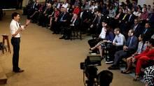 Justin Trudeau speaks at Havana University in the Cuban capital on Nov. 16, 2016. (ENRIQUE DE LA OSA/AFP/Getty Images)