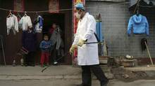 A family watches a worker spray disinfectant in Naidong village, where a boy tested positive for the H7N9 virus, in Beijing Monday, April 15, 2013. The new case of bird flu in China's capital, a 4-year-old boy who displayed no symptoms, is adding to the unknowns about the latest outbreak that has caused 63 confirmed cases and 14 deaths, health officials said Monday. (AP)