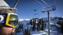 A skier rides up the new Crystal Ridge Express chairlift on Blackcomb Mountain in Whistler in this file photo. (John Lehmann/The Globe and Mail)
