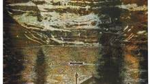 Peter Doig's Jetty (see detail) will be offered for sale at Christie's auction house in London June 25. It has a pre-sale estimated price of £4,000,000 to £6,000,000. (CHRISTIE'S IMAGES LTD.)