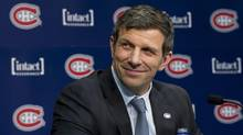 Marc Bergevin smiles as he is introduced as Montreal Canadiens' new general manager Wednesday, May 2, 2012 in Brossard, Que. (Paul Chiasson/THE CANADIAN PRESS)
