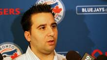 Toronto Blue Jays general manager Alex Anthopoulos answers questions during the MLB winter meetings at Hilton Anatole. (Matthew Emmons-US PRESSWIRE/US PRESSWIRE)