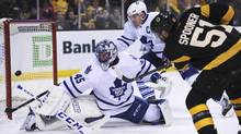 Maple Leafs goalie Jonathan Bernier is 6-4-0 with a .915 save percentage since mid-December, but coach Mike Babcock has obviously lost a degree of confidence in him. (Bob DeChiara/USA Today Sports)