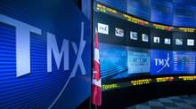 TMX Group Inc. signage and stock prices are displayed on a screen in the broadcast center of the Toronto Stock Exchange (TSX) in Toronto. (Norm Betts/Bloomberg)