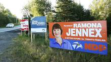 Candidate signs outside the town of Wolfville in the riding of Kings South, Nova Scotia, September 19, 2013. (PAUL DARROW For The Globe and Mail)