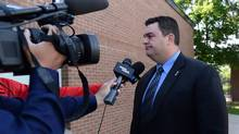 Independent MP Dean Del Mastro arrives at court in Peterborough, Ont., on June 23, 2014. (Sean kilpatrick/THE CANADIAN PRESS)