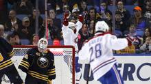 Montreal Canadiens centre Paul Byron (41) scores the winning goal in overtime against Buffalo Sabres goalie Robin Lehner (40) during the overtime period at First Niagara Center in Buffalo, N.Y. on Wednesday, March 16, 2016. The Canadiens beat the Sabres 3-2 in overtime. (Kevin Hoffman/USA Today Sports)