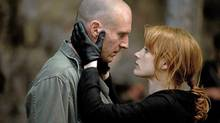 "Ralph Fiennes and Jessica Chastain in a scene from ""Coriolanus."" (Larry D. Horricks)"