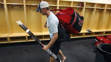 Carolina Hurricanes' Eric Staal leaves the locker room after an informal workout for the NHL hockey team at Raleigh Center Ice on Friday, Sept. 14, 2012, in Raleigh, N.C. (AP)