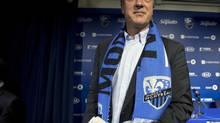 Montreal Impact new head coach Marco Schallibaum leaves the stage after a news conference, Tuesday, January 8, 2013 in Montreal. (Ryan Remiorz/THE CANADIAN PRESS)