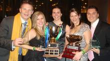 The organizing committee members of the University of Alberta's School of Business team that won the Queen's Cup at the 2011 MBA Games, from left, Lucas Matheson, Jessica Kennedy, Ashley Beliveau Davis, Erin Lampard and Kori Patrick. (Alberta School of Business MBA Games team)