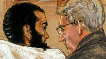 In this sketch by a courtroom artist and reviewed by a US Department of Defense official, Canadian detainee Omar Khadr attends a military war-crimes hearing at the US Naval Base in Guantanamo Bay, Cuba, on Aug. 9, 2010. (JANET HAMLIN/AFP/Getty Images)