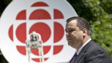 Heritage Minister James Moore makes an announcement at Rideau Hall on June 21, 2011. The CBC took at $115-million hit in the 2012 federal budget. (Adrian Wyld/Adrian Wyld/The Canadian Press)