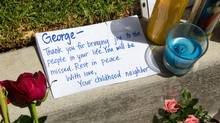 A note believed to be written for George Chen, roommate and one of the victims of Elliot Rodger, who killed six people and wounded 13 others Friday, outside the apartment complex where they lived in Isla Vista, Calif., May 26, 2014. (MONICA ALMEIDA/NYT)