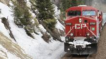A Canadian Pacific Railway freight train is pictured in this handout photo. A CP freight train operated by a manager collided with another train in southern B.C. in March, the second such incident that has come to light in the past four months. (Handout)
