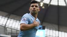 FILE -  This is a Saturday Dec. 14, 2013  file photo of Manchester City's Sergio Aguero as he celebrates after scoring against Arsenal during their English Premier League soccer match at the Etihad Stadium, Manchester, England.