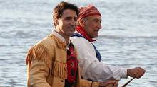 Trudeau told Vanity Fair his favourite items of clothing are a pair of jeans and his father Pierre Trudeau's handmade native buckskin fringe jacket. (Sean Kilpatrick/THE CANADIAN PRESS)
