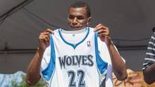 Minnesota Timberwolves guard Andrew Wiggins shows off his new jersey at Minnesota State Fair. (Brad Rempel/USA TODAY Sports)