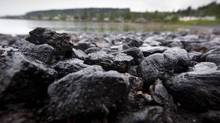 Chunks of coal on the beach around Union Bay, B.C. (John Lehmann/The Globe and Mail)