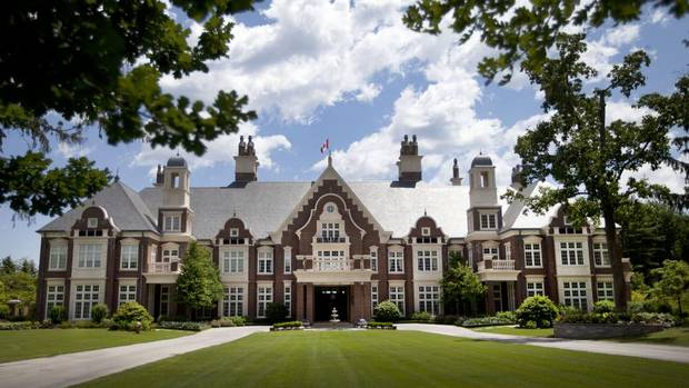 The front view of Chelster Hall. 'It was meant to look old when it was built and it was meant to look the same in 100 years,' says Hugo Powell. Jun 26, 2012. Chelster Hall is one of Canada's largest homes and overlooks Lake Ontario in Oakville. (Moe Doiron/The Globe and Mail) (Moe Doiron/The Globe and Mail)