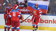 Alex Ovechkin of Team Russia celebrates a second period goal by Vladimir Tarasenko against Team Finland during the World Cup of Hockey tournament at the Air Canada Centre on September 22, 2016 in Toronto, Canada. (Tom Szczerbowski/Getty Images)