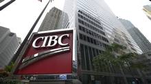 The CIBC appears on a sign outside the bank's Bay St. office building in Toronto. (Fred Lum/The Globe and Mail)