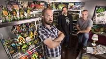 The three men responsible for Turtle Power - The Definitive History of the Teenage Mutant Ninja Turtles, which has been in production since the beginning of 2009, pose for a portrait in the basement of Isaac Elliot-Fisher with his Ninja Turtle and other toy collections in Paris, Ontario on August 5, 2014. Left to right are Elliot-Fisher, D.O.P./Producer, Randal Lobb, Writer/Director/Producer, and Mark Hussey, Post-Production/Producer. (Peter Power for The Globe and Mail)