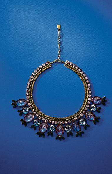 Don this handmade brass choker, adorned in enamel beads and Swarovski crystals, and all eyes will be on you. Luisa necklace by Dannijo, $625 at Holt Renfrew (www.holtrenfrew.com). (Hamin Lee for The Globe and Mail)