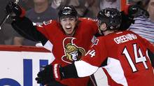 Ottawa Senators' Jean-Gabriel Pageau (L) celebrates his goal against the Montreal Canadiens with teammate Colin Greening during the third period of their NHL Eastern Conference quarterfinal hockey game in Ottawa May 5, 2013. (Reuters)