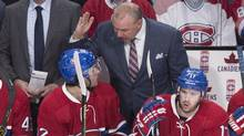 Montreal Canadiens head coach Michel Therrien has a few words for Brian Flynn as they face the Chicago Blackhawks during third period NHL hockey action Thursday, January 14, 2016 in Montreal. (Paul Chiasson/THE CANADIAN PRESS)