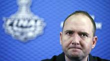 New Jersey Devils coach Peter DeBoer answers questions during a news conference before Game 3 of the NHL Stanley Cup Final between the New Jersey Devils and the Los Angeles Kings in El Segundo, California June 3, 2012. (LUCY NICHOLSON/REUTERS)