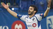 Montreal Impact's Felipe Martins celebrates after scoring against the Philadelphia Union during first half MLS soccer action in Montreal, Saturday, April 26, 2014. (Graham Hughes/THE CANADIAN PRESS)