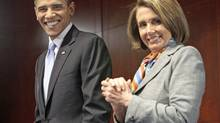 Barack Obama is all smiles with House Speaker Nancy Pelosi during the U.S. President's visit to Capitol Hill on Saturday, March 20, 2010. (Pablo Martinez Monsivais)