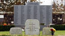 Memorial stones in memory of victims of Pan-Am flight 103 are pictured in a garden of remembrance near the village of Lockerbie in southwest Scotland on November 5, 2008. (PAUL ELLIS/AFP/Getty Images)