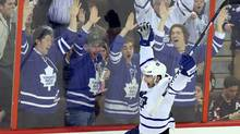 Toronto Maple Leafs' Joffrey Lupul celebrates his goal with Leafs fans after defeating the Ottawa Senators 4-1 in NHL action in Ottawa Saturday April 20, 2013. (The Canadian Press)
