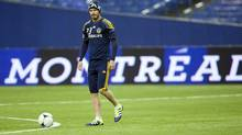 Major League Soccer Los Angeles Galaxy's David Beckham practices with his team Friday, May 11, 2012 in Montreal. The Galaxy will play the Impact Saturday. (Ryan Remiorz/CP/Ryan Remiorz/CP)