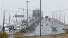 The Burlington Skyway bridge is shown in 2003. Police say a crash on the bridge on July 31, 2014, caused 'significant structural damage' and its Toronto-bound lanes would be closed until further notice. (KAZ NOVAK/THE CANADIAN PRESS)