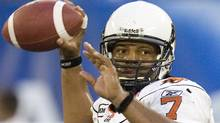 B.C. Lions quarterback Jarious Jackson works during first quarter CFL action against the Toronto Argonauts in Toronto, on Friday, August 14, 2009. THE CANADIAN PRESS/Darren Calabrese (Darren Calabrese/THE CANADIAN PRESS/Darren Calabrese)