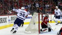 Kasperi Kapanen of the Toronto Maple Leafs celebrates after scoring the game-winning goal against the Washington Capitals to give the Leafs a 4-3 double overtime win in Game Two of the Eastern Conference First Round during the 2017 NHL Stanley Cup Playoffs at Verizon Center on April 15, 2017 in Washington, DC. (Rob Carr/Getty Images)