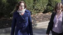 Sabrina Rubin Erdely, left, walks to the federal courthouse in Charlottesville, Va., with an attorney on Monday, Oct. 31, 2016. (Ryan M. Kelly/AP)