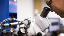 Kenichi Takahata works on the Micro Electro Discharge Machine in his laboratory at University of British Columbia in Vancouver. (Rafal Gerszak/Rafal Gerszak)