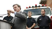 Canada's Finance Minister Jim Flaherty speaks during a news conference at Fire Station 81 in Stittsville, Ontario March 22, 2012. (CHRIS WATTIE/REUTERS/CHRIS WATTIE/REUTERS)