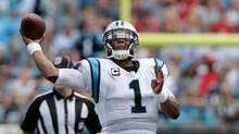 Cam Newton of the Carolina Panthers throws a pass against the San Francisco 49ers during their game at Bank of America Stadium on September 18, 2016 in Charlotte, North Carolina. (Streeter Lecka/Getty Images)