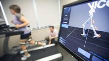 Amberly McAteer took a 3-D gait test conducted by physiotherapist Greg Lehman at the Medcan Clinic. (Peter Power For The Globe and Mail)
