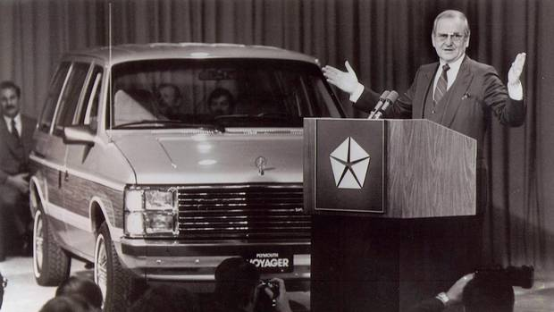 Lee Iacocca introduces the first minivan: The company's new breed of 'garageable' 1984 front-wheel drive family wagons and vans - the Plymouth Voyager, Dodge Caravan and Dodge Mini Ram Van. He predicted that the Voyager and the Caravan would be to the 80s what the Mustang was to the 60s - vehicles that force other manufacturers to come up with copycat versions. (Chrysler)