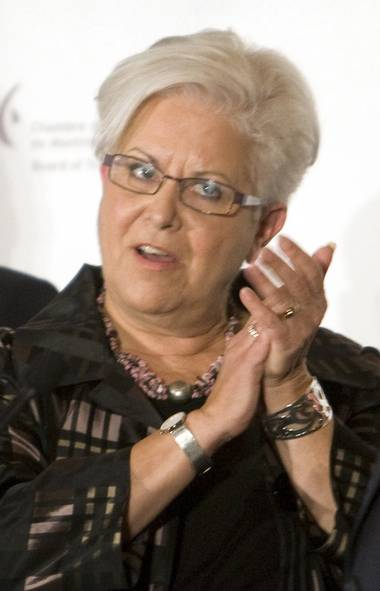 Montreal mayoral candidate Louise Harel mockingly applauds incumbent Gerald Tremblay during a debate at the Chamber of Commerce Tuesday, October 27, 2009 in Montreal.