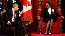 Prime Minister Stephen Harper talks with Governor-General Michaelle Jean before the Speech from the Throne in the Senate chamber in Ottawa on March 3, 2010. (CHRIS WATTIE/CHRIS WATTIE/REUTERS)