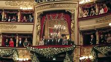"Italian Prime Minister Mario Monti (2nd R) and his wife Elsa (R) stand next to Italian President Giorgio Napolitano (2nd L) and his wife Clio at Mozart's ""Don Giovanni"" at the La Scala opera house in Milan Dec. 7, 2011. (REUTERS)"
